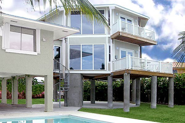 Florida Keys two-story stilt home Topsider