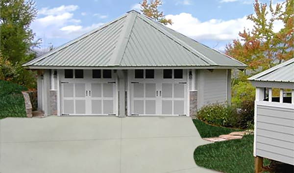 Topsider's two-car prefab garage kits range in size from 475 sq. ft. up to 1,250 sq. ft.