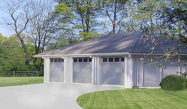 "This 1,100 sq. ft. three-car Topsider prefab garage is a great idea for a ""free-standing"" or attached garage"