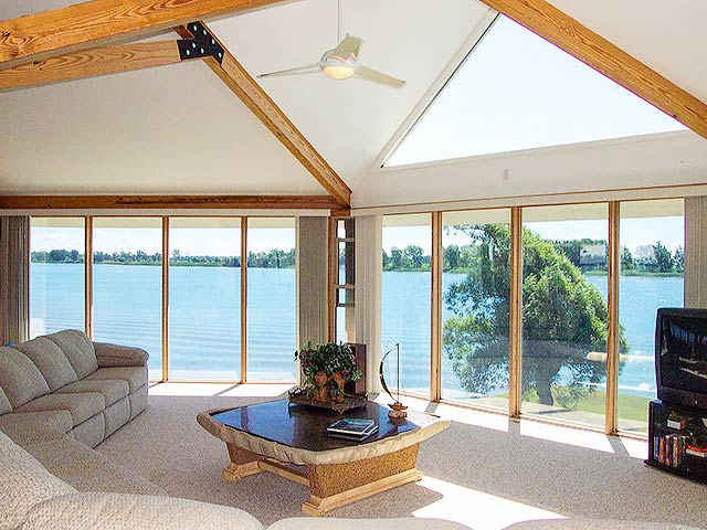 Contemporary homes interior window design panoramic view lakehouse