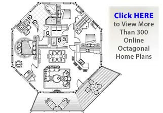 Octagon houses and octagonal home designs by topsider for Octagon cabin floor plans