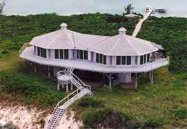 Double pedestal built oceanfront, Caribean Sea, Great Exuma, Bahamas