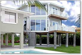 Hurricane proof two-story stilt house design built in the Florida Keys with panoramic views
