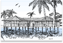 Piling, pier, stilt houses hurricane & coastal home plans