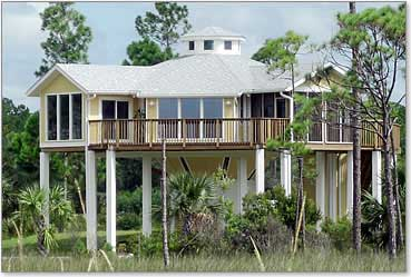 Piling pier stilt houses hurricane coastal home plans for Stilt homes for sale