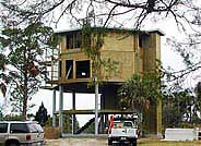 Extra tall pilings (stilts) were required for this two-story Gulf Coast of Florida hurricane homes.