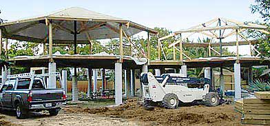 Florida Keys post and beam hurricane home under construction