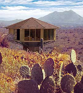Pedestal home foundations blend perfectly into the natural desert landscape.