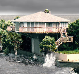 Hurricane proof elevated homes and pedestal houses
