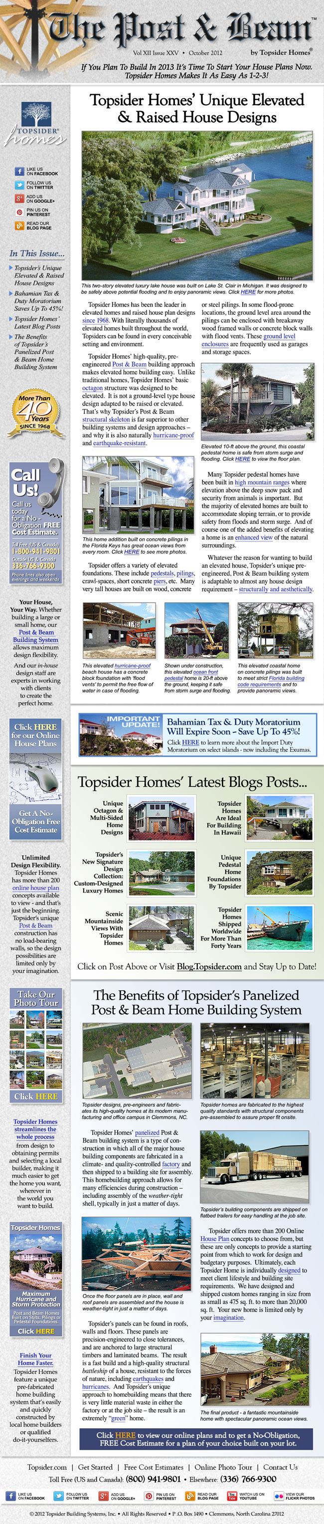 Topsider Homes October 2012 eNewsletter