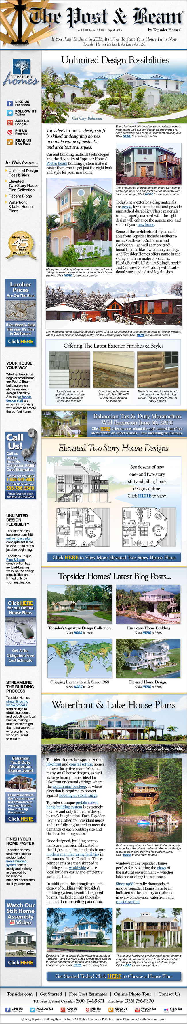 Topsider Homes April 2013 eNewsletter