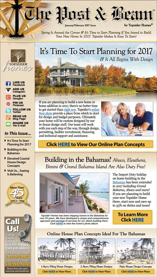Topsider Homes January 2017 eNewsletter